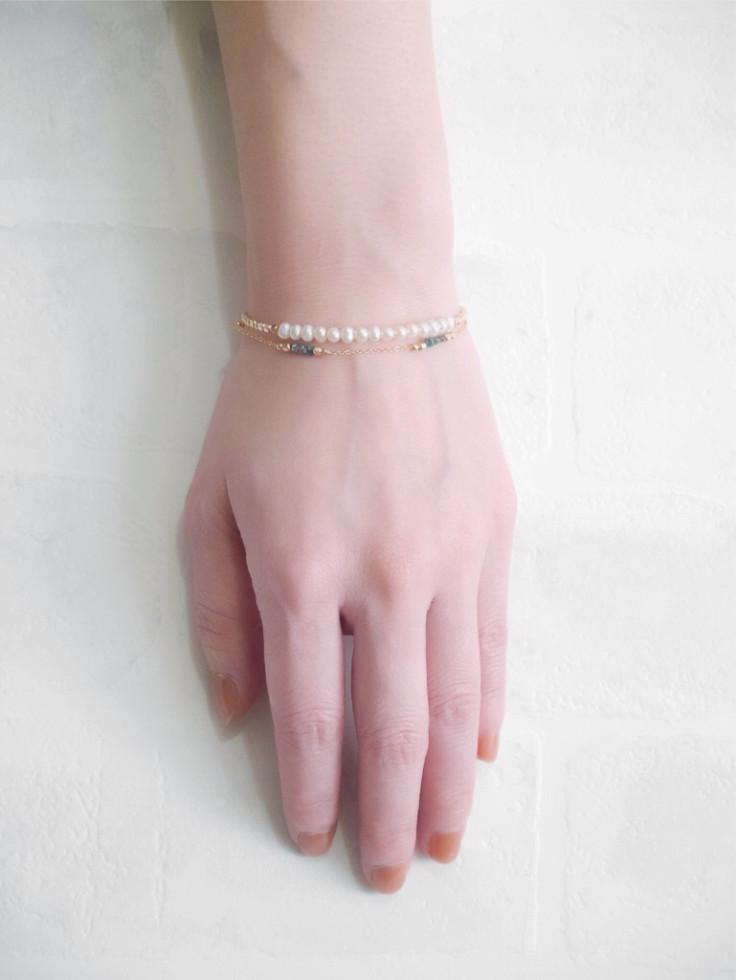 14KGF 2連ブレスレット(マグネット) -淡水パール×ダイアモンド-